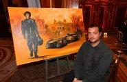 """Гала-ужин в Монако, эпри7. Художник нарисовал картину """"Формула Е"""" прямо во время приема"""