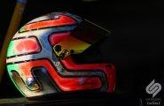 Monaco Formula E. Шлем Витантонио Лиуцци лежит на солнце