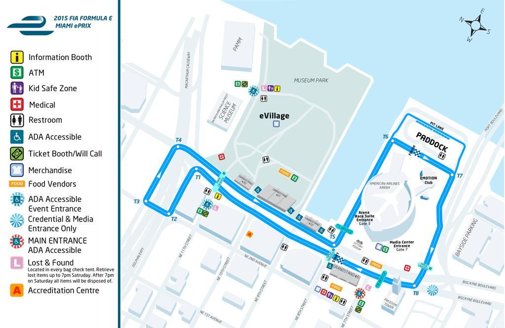 Схема трассы с расположением всех важных мест